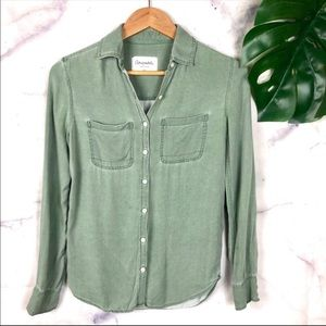 Aeropostale Eightyseven Olive Green ButtonDown Top